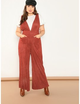 Plus Pocket Front Plunging Corduroy Jumpsuit by Shein