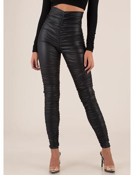 Ruche Order High Waisted Leggings by Go Jane
