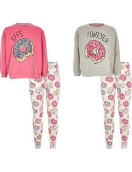 Girls Grey Donut Pyjama Set Two Pack by River Island