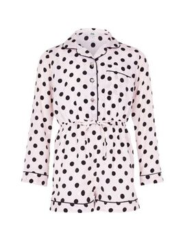 Girls Pink Polka Dot Pyjama Playsuit by River Island