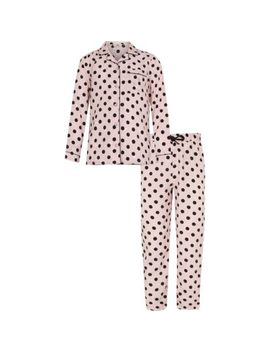 Girls Pink Spot Print Pyjama Set by River Island