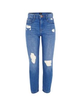 Girls Blue Bella Ripped Straight Leg Jeans by River Island