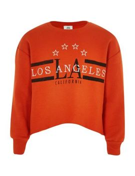 Girls Orange 'los Angeles' Crop Sweatshirt by River Island