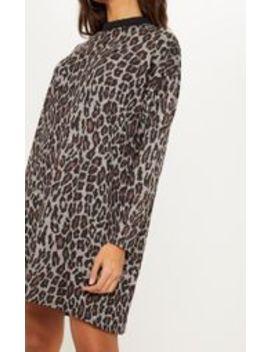 Brown Leopard Print Oversized Jumper Dress by Prettylittlething