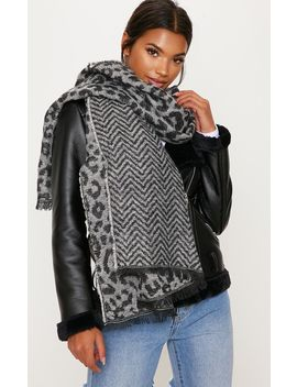 Grey Leopard Scarf by Prettylittlething
