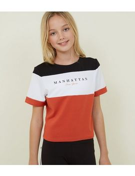 Girls White Manhattan Colour Block T Shirt by New Look