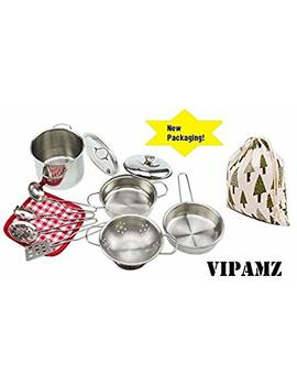 Vipamz My First Play Kitchen Toys Pretend Cooking Toy Cookware Playset For Kids 11 Pieces Stainless Steel Pots And Pans With Cooking Utensils  Dishwasher Safe by Vipamz