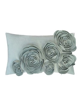Jwh 3 D Handmade Accent Pillow Cases Rose Flowers Cushion Covers Velvet Decorative Pillowcases Home Sofa Car Bed Living Room Office Chair Decor Pillowslips Rectangular Gifts 12 X 20 Inch Light Blue by Jwh