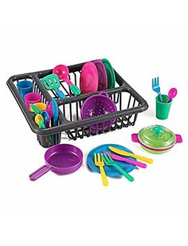 28 Pieces Kitchen Play Dish And Pots Tableware Set With Drainer By Kinder Toys by Kinder Toys