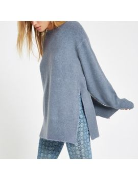 Blue Split Side Knit Sweater by River Island