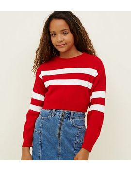 Girls Red Stripe Sleeve Jumper by New Look