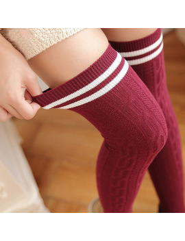 New Fashion Cotton Sexy Striped Thigh High Over The Knee Socks Long Stockings For Girls Ladies Women Wml99 by Swokii
