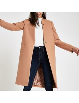 Camel Knit Collarless Longline Coat by River Island