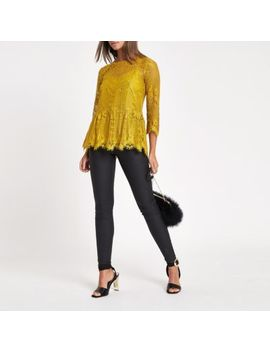 Yellow Lace Peplum Hem Lace Top by River Island