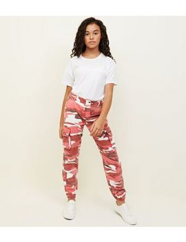 Girls Red Camo Cargo Trousers by New Look