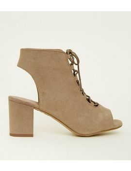 Girls Light Brown Suedette Lace Up Peep Toe Boots by New Look