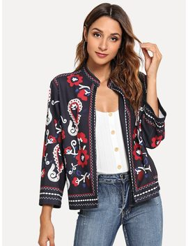 Ornate Print Coat by Shein