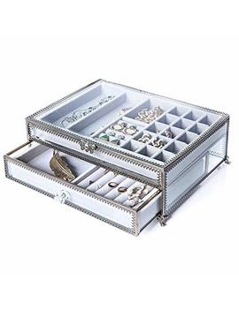 Pu Two Jewelry Boxes 22 Sections Metal Glass Jewelry Organizer Velvet Jewelry Tray Jewelry Box by Pu Two