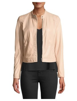 Perforated Zip Front Leather Jacket by Rebecca Taylor