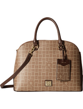 classic-revival-triple-compartment-logo-dome-satchel by anne-klein