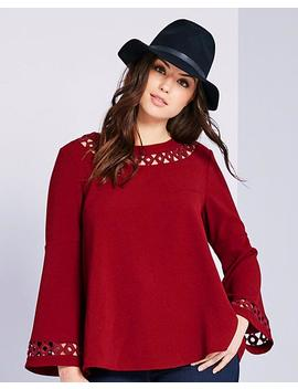 Crochet Detail Bell Sleeve Top by Simply Be
