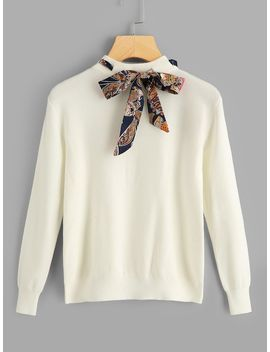 Solid Knotted Decoration Sweater by Shein