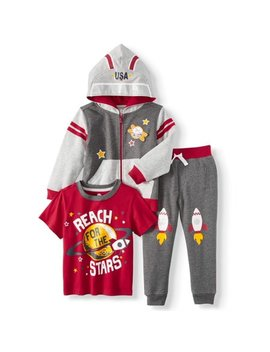 Costume Hoodie, Graphic T Shirt, & Jogger Pants, 3pc Outfit Set by Wonder Nation