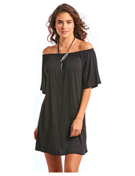 Panhandle Women's Black Off The Shoulder Knit Swing Dress by Panhandle