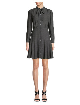 Tie Neck Button Front Long Sleeve Sprinkle Dot Silk Dress by Rebecca Taylor