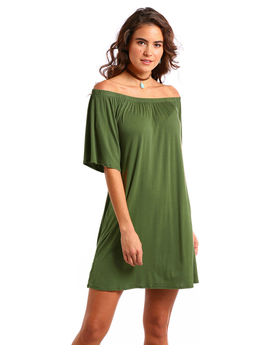 Panhandle Women's Olive Off The Shoulder Swing Dress by Panhandle