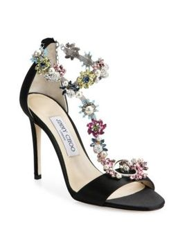 Reign Crystal Embellished Satin T Strap Sandals by Jimmy Choo