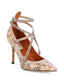 Love Latch Lizard Leather Pumps by Valentino Garavani