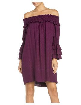 Miss Me Women's Off Shoulder Ruffle Sleeve Dress by Missme