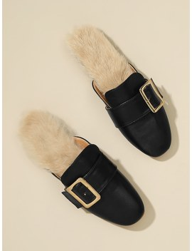 Buckle Design Faux Fur Mule Flats by Sheinside