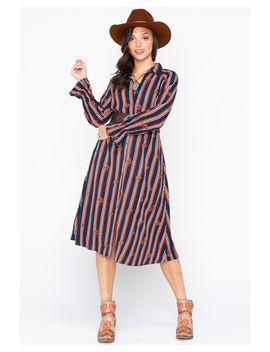 Miss Me Women's Striped Button Down Shirt Dress by Missme