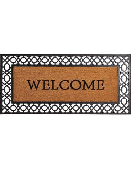 Welcome Oversized Coir Doormat Black  22 X 47 In. by At Home