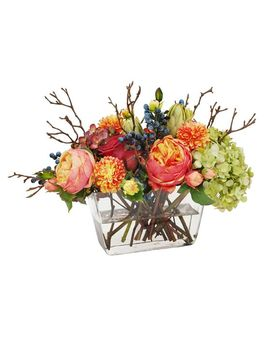 Faux Mixed Fall Hydrangea And Rose In Square Vase by Pottery Barn