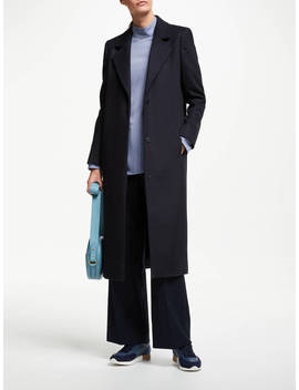 John Lewis & Partners Single Breasted Coat, Navy by John Lewis & Partners