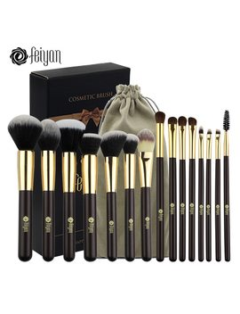 Feiyan Makeup Brushes Professional Synthetic Hair Eyeshadow Powder Blush Foundation Set 15pcs Cosmetic Brush Kit With Bag Gift by Feiyan