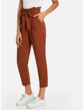 Ruffle Detail Belted Pleated Pants by Shein