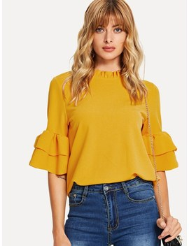 Frill Neck Flounce Sleeve Keyhole Back Top by Shein
