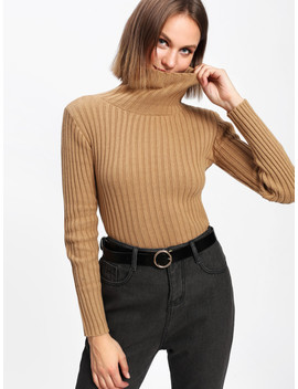 Rib Knit Turtleneck Sweater by Shein