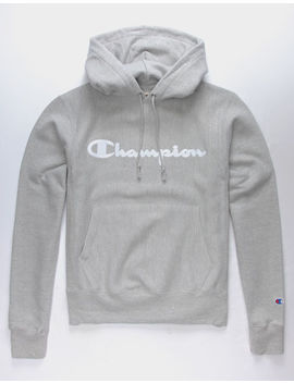 Champion Life Reverse Weave Script Logo Oxford Grey Mens Hoodie by Champion
