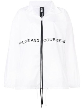 Slogan Print Oversized Sports Jacket by Mia Iam