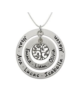 Aj's Collection Personalized My Family Tree Sterling Silver Graduation Necklace. Customize Round Charms. Choice Of Sterling Silver Chain. Great Gift Idea For Grandmother And Moms. Iconic Family Tree. by Aj's Collection