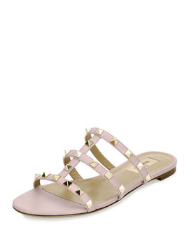 Rockstud Caged Flat Slide Sandal by Neiman Marcus
