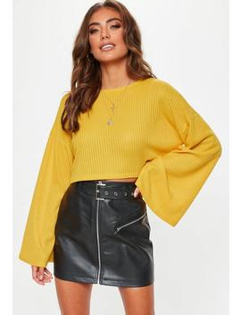 Mustard Ribbed Flare Sleeve Sweatshirt by Missguided