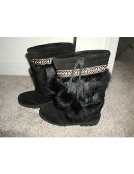Minnetonka Mukluk Boots Black Suede Leather With Rabbit Fur Trim Size 7 by Minnetonka