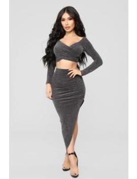 Illuminate The Room Skirt Set   Silver by Fashion Nova