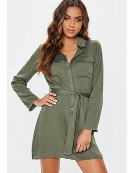 Khaki Tie Waist Utility Shirt Dress by Missguided